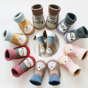 Pudcoco neue Kleinkind-Non-Slip Stiefelsocken-Kind-Baby-Druck-Karikatur-warme Schuhe Anti-Rutsch-Slipper