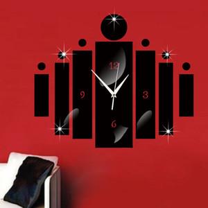 거울 디지털 벽 시계 벽 스티커 시계 3D 거실 침실 연구 홈 디자인 장식 자동 시계 블랙 실버