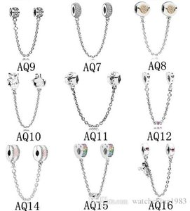 Segurança da cadeia Encantos Beads Fits Pandora pulseiras autêntica prata esterlina 925 Jóias DIY Acessórios de Moda Jóias