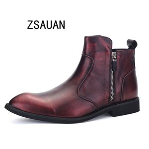 ZSAUAN NEW Men Boots Pointed Toe Zip Leather Ankle Boots Black Claret Comfortable High Top Casual Man Botas