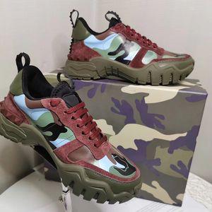El nuevo diseñador de la zapatilla de deporte Escaladores Rockrunner camuflaje mujeres de cuero de becerro zapatilla de deporte los hombres entrenador vendimia zapatos del papá de los zapatos corrientes 11 colores