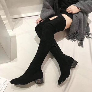new Designer Women Over The Knee Boots 3.8cm Square Heels With Diamond Bottillons Fashion Sexy Thigh-High Winter elastic Boots5da9#