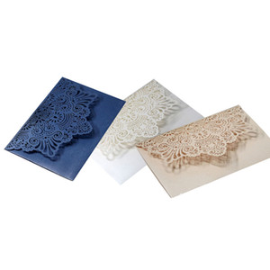 2020 Personalized Print Wedding Invitations Cards Elegant Laser Cut Flora Hollow Out Hotel Business Invitation Cards Hot Selling