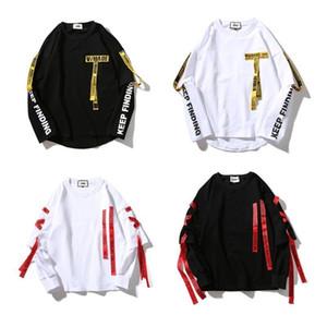 Mens T-shirt di stampa della lettera del nastro Harajuku cotone a maniche lunghe T-shirt Fashion Casual Camicie Uomo Pullover Tees
