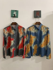 New Summer Autumn Harajuku Medusa gold chain Dog Rose print Men shirts Fashion Retro color mixing Men's Short sleeve tops shirts