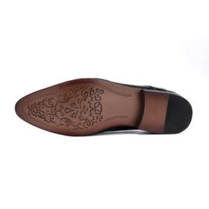 2020 Nuova Moda Scarpe formali Buckle Mens maschio Abito scarpe scivolare su punta indicata vendita calda cuoio genuino di marca nero superiore