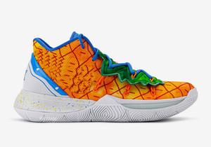 Breathable Kyrie 5 Pineapple House Grade Schule Schuhe zum Verkauf SpongeBobs Kinder Basketballschuhe Tropfen-Verschiffen mit Kasten US4-US12