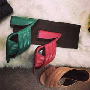 chaussures design Hot Vente-luxe Impera qualitty cuir d'été Crossover Sandal Mulets Slides Or bloc Escarpin Sandales Femmes Chaussons