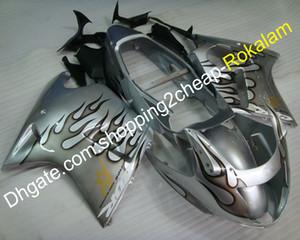 오토바이 부품 혼다 바람막이 CBR1100XX 블랙 버드 CBR1100 XX 1996-2007 실버 화염 오토바이 페어링 키트 (사출 성형)