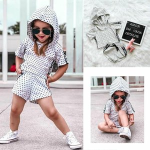 2PCS New Infant Baby Girls Wave Point Hooded T-shirt Tops+Pants Shorts Otufits Summer Sportsuit Clothes
