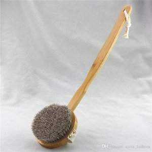 Ручной Съемные Bamboo конский Ванна Щетка с ручкой Long Бент Spa Массаж тела Душ кисточкой