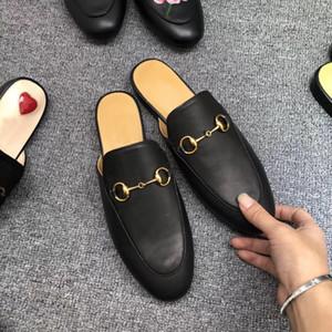 Sandals suaves clássico deslize Designer metal dobraram chinelos BEE couro Metade Chinelos Moda preguiçoso de couro de luxo Ladies Luxury dos desenhos animados