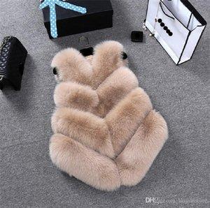 Kış Kadın Faux Fur Vset Lüks Bayan Tasarımcı Katı Dış Giyim Bayan Moda Kasetli İnce Kolsuz Coat