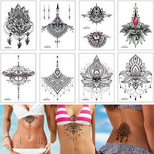 Tatuaje joyería Pecho etiqueta engomada temporal Diseño Esqueleto falso Negro flor de la alheña de Transferencia de Agua Papel tatuaje impermeable para mujer del bikini Decoración
