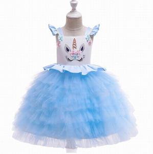Unicorn filles Robes couche Gaze manches princesse robes pour Cake Party Dress Vêtements de bébé 3-10Y DJS005