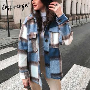 Lessverge Новая мода Женщины плед пальто Кнопка вниз пальто куртки камвольно с длинным рукавом Теплый шерстяной