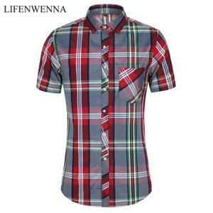2020 New Fashion Plaid Shirt Men Summer Casual Short Sleeve Shirts Mens Plus Size Beach Hawaiian Tops Blouse Male 5XL 6XL 7XL T200602