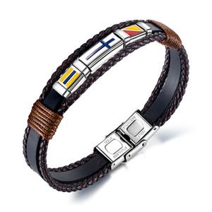 Braid couro dos homens Bandeira Nacional Bracelet Titanium Steel Mão Tecidos esmalte Cruz Vintage Enrole Wrist Band jeweley