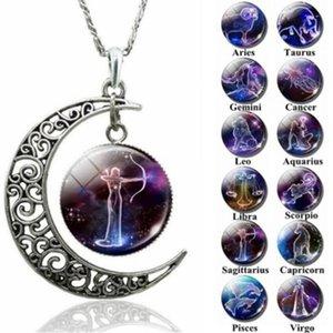 Moda 12 do sinal do zodíaco de vidro colar de pingente Cabochon Constellation Horóscopo Astrologia pedra preciosa Estrela Declaração de colar de presente grátis
