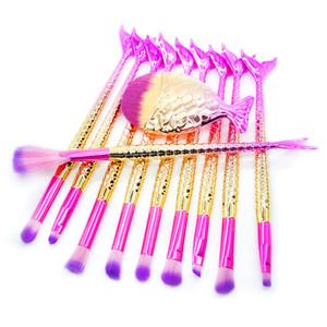 11 PCS Sirène Maquillage Pinceaux Set Coloré Queue De Poisson Poudre Fondation Sourcil Eyeliner Fard À Joues Cosmétique Concealer Sirène Brosses GGA1863