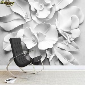 Personalizzato carta da parati murale moderna stereo atmosfera minimalista rilievo 3D floreale divano TV parete di fondo 3D carta da parati
