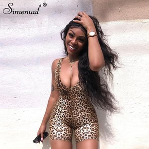 Simenual Leopard V Neck Fitness Biker Playsuits Sleeveless Sexy Fashion Rompers Womens Jumpsuits Skinny Summer Slim Playsuit Hot T200704