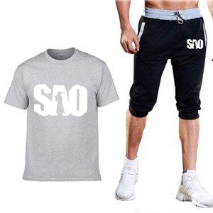 SAO Sword art online мужская футболка летняя мода мужская с коротким рукавом высокое качество хлопок повседневная футболка+шорты костюм 2шт