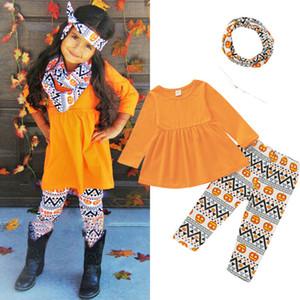 3PCS Halloween Tout-petit bébé fille Vêtements Hauts Pantalons T-shirt de citrouille Tenues 1-6Y