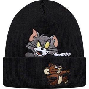 Kedi Beanie Siyah Kış Örme Skullcap Yetişkin Rahat Hip Hop Şapka Kadın Erkek Akrilik Bere Kap Unisex Düz Renk Sıcak Tutun