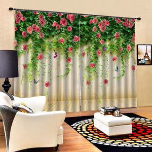 Luxury blackout curtains 3D Window Curtains For Living Room Bedroom green leaf red rose curtains