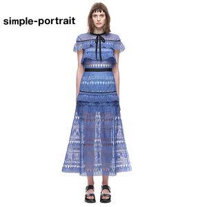 SP Simplee High-end 2019 Yeni varış öz portre mavi Uzun Elbise Pelerin Kollu Dantel Patchwork Maxi Elbise Moda Pist pelerin