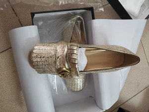 Golden Goat Leather Metal Decoration shoes Lady 2.5cm Low heeled Leather Shoe Single Shoe Square Head Ruffled Coarse heeled Leather Shoe