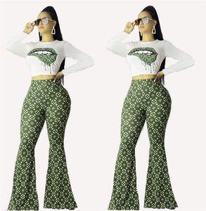 Femmes printemps design pantalon évasé manches longues 2 hoodies ensemble pièce pull-over pantalons bootcut vêtements vêtements décontractés capris survêtement 2678
