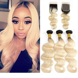 H Wewill Brazilian Human Hair Weave Body Wave Bundles With Closure 1b 613 Ombre Virgin Hair Bundles With Lace Closure Remy Hair Extensi