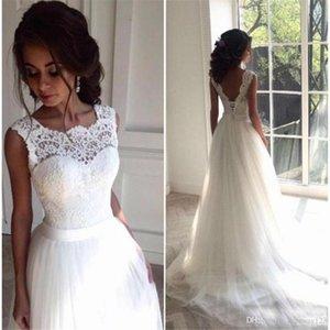 Simples 2020 weiße Tulle eine Linie mit Flügelärmeln Brautkleider mit Backless koreanischen Brautkleider Vestido De Noiva