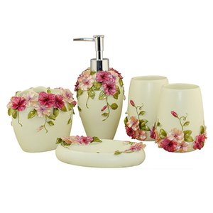 Country Style Resin 5Pcs Bathroom Accessories Set Soap Dispenser Toothbrush Holder Tumbler Soap Dish (Green)
