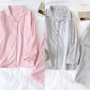 Women's long-sleeved cotton clothes home pajamas men's cotton pajamas thin couple autumn home suit