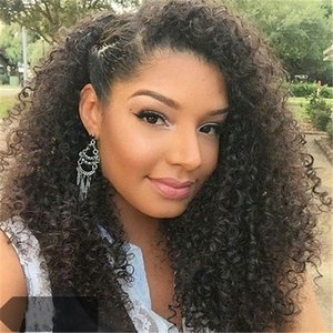 130 Density Glueless Full Lace Human Hair Wigs With Baby Hair kinky curly Brazilian natural hairline With Bleach Knots for women