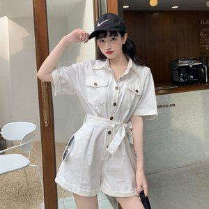 Women White Black Pink Jumpsuit and Rompers Female Solid Button Pocket Bib Shorts Pants Playsuits Overalls New 2020 T200704