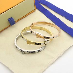 Europe America Fashion Style Lady Women Titanium steel 18K Gold Enamel Four Leaf Flower V Letter Rivets Belt Fastener Bangle Bracelets