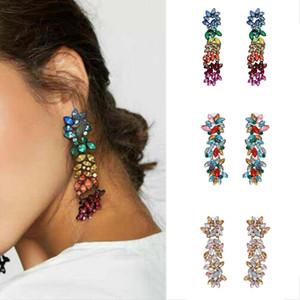 2019 femmes plus à la mode géométrique Déclaration strass coloré long pendentif Boucles d'oreilles à la mode Bijoux Boucle d'oreille en