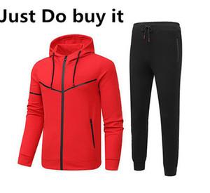 Justo lo compre hombres chándales hombre del chándal de deporte larga Sudaderas Pantalones Trajes de 3 colores opcionales
