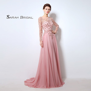 Chiffon A Line Pink Prom Dresses Pleated In Stock Luxury Party Dress Long Sleeves LX051