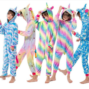 Kızlar Erkekler Kış Kigurumi Pijama Unicorn Karikatür Anime Hayvan Onesies Çocuklar pijamalar Fanila Jumpsuit Çocuk Pijama Isınma
