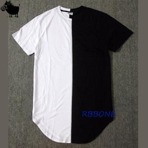 하프 블랙 화이트 새 디자이너 2019 여름 확장 Tshirt 힙합 스트리트 패션 캐주얼 반소매 T- 셔츠 남성 J190528