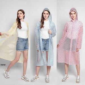 Fashion Wave Point Raincoat with Hat Reusable Travel Camping Must Rainwear EVA Adult Unisex Raincoat for Woman Man HHA1264new