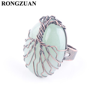 Adjustable Ring for Women Jewelry Natural Stone Aventurine Finger Rings Party Jewelry Vintage Copper Wire Wrapped Tree of Life DX3058