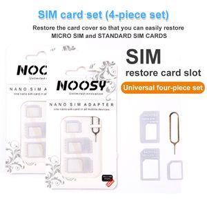 새로운 4 in 1 noosy nano 마이크로 SIM 카드 변환기 어댑터 키트 도구 Samsung Huawei Xiaomi 유니버설 SIM 카드 바늘 소매 상자