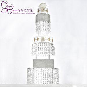 아크릴 컵 케이크 타워 크리스탈 구슬 샹들리에 케이크는 결혼식 파티 케이크 타워를 표시 스탠드 매달려로 3 계층 라운드 스탠드