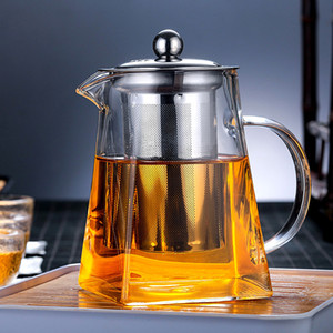 Glass Teapot Tea Kettle - Borosilicate Glass Tea Maker with Removable Stainless Steel Infuser and Crystal Handle for Blooming and Loose Leaf